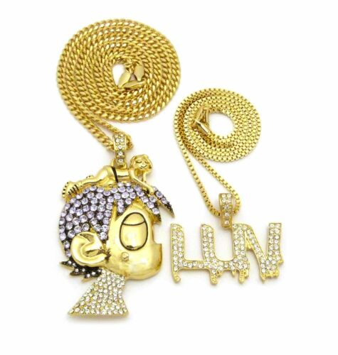 "ICED OUT PAVE LIL UZI VERT CARTOON /& LUV PENDANT W// 24/"" 30/"" CHAIN NECKLACE SET"