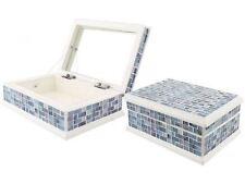 Blue Stripe Mosaic Ethnic Decorative Jewellery Storage Trinket Box - Brand New