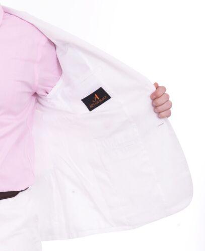 Mens 40S Men/'s Arthur Black Classic Fit Solid White Two Button 2 Piece 100/% L...