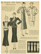 Publicité ancienne mode la vogue des tissus 1937 issue de magazine