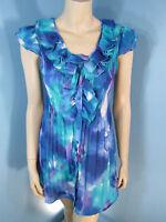 Sunny Leigh Multi-Color Raffle Crinkle Cap Sleeve Woman Top Blouse Size S