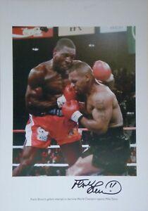 Frank Bruno Signed Large Boxing Photo vs Mike Tyson COA AFTAL
