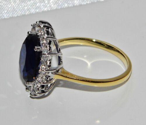 9ct Amarillo Oro Y Plata Azul Zafiro Princesa Diana Cluster Grande Anillo Tamaño S