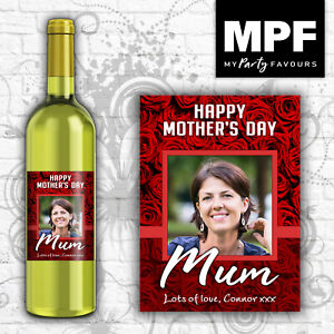 Personalised Mother's Day Photo Wine Gin Vodka Bottle Label - Red Roses