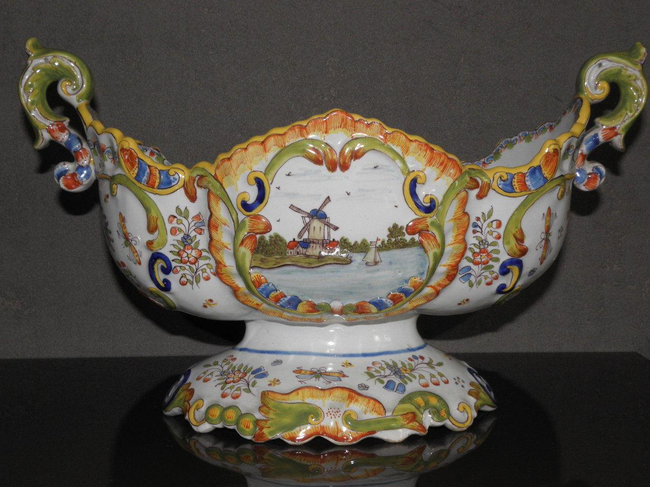 Centro De Mesa Pieza de soporte de Cerámica Floral Coper Ornamento Sostenedor De Taza Antiguo Recargado