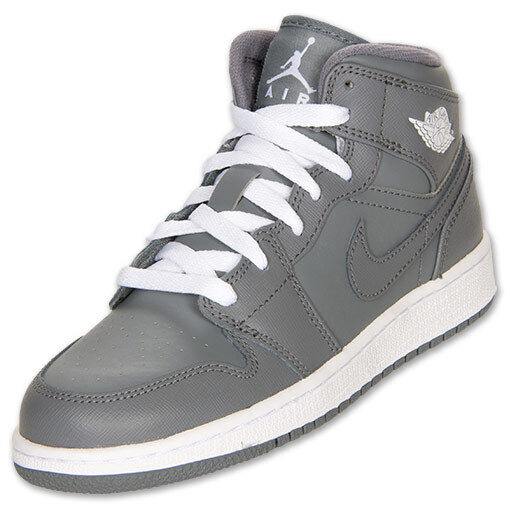 368e588e47 Nike Air Jordan 1 Mid GS Kids Shoes Grey White Size 6.5 554725 003 ...