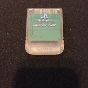 Playstation-1-Official-Sony-Brand-memory-card-CRYSTAL-CLEAR-color-great-shape