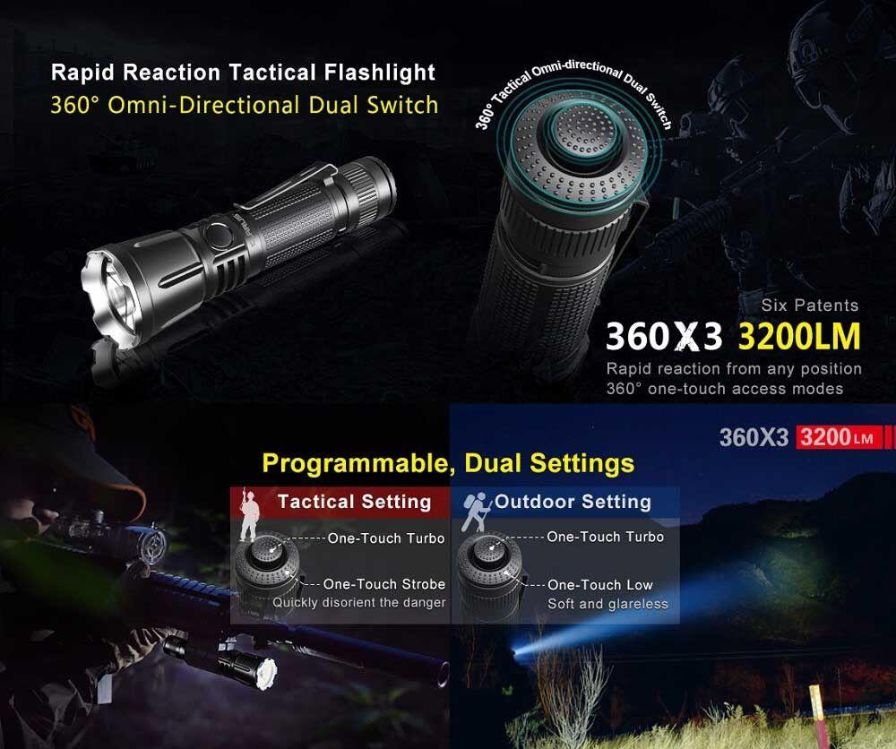 Klarus 360X3 aufladbare taktische LED Taschenlampe 3200 Lumen + Akku + Halterung