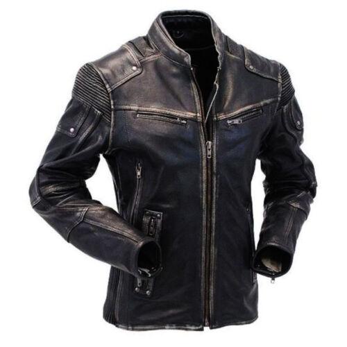 Men/'s Vintage Wrinkled Shoulder Biker Cafe Racer Distressed black Leather Jacket