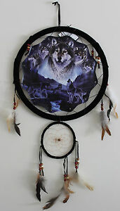 "13"" Dream Catcher Mandella Moonlight Indian Wolf Wall Hanging Decor"