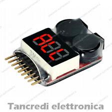 Tester per pacchi batteria LiPo Li-ion LiMn Li-Fe 1-8s con buzzer voltage alarm