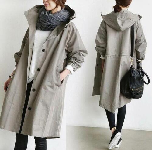 Womens Fashion Oversized Hooded Windbreaker Rain Jacket Loose Parka Trench Coats