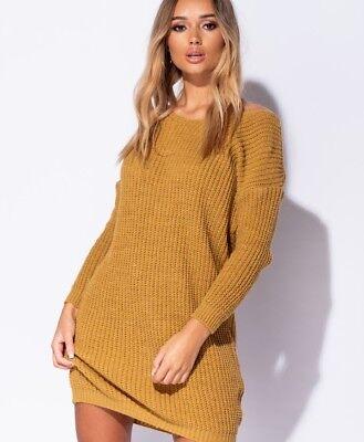 Aggressiv Rib Knit Twist Back Jumper Dress - Mustard/yellow Sparen Sie 50-70%