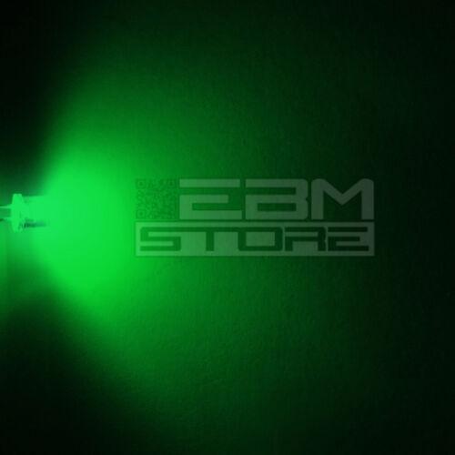 100 pz led FLAT TOP verdi alta luminosità 15.000 mcd 5 mm AH03 ART