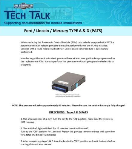 2007 Ford Taurus 3.0L 5F1A-12A650-GF Engine Computer ECM PCM ECU MD1-F1501
