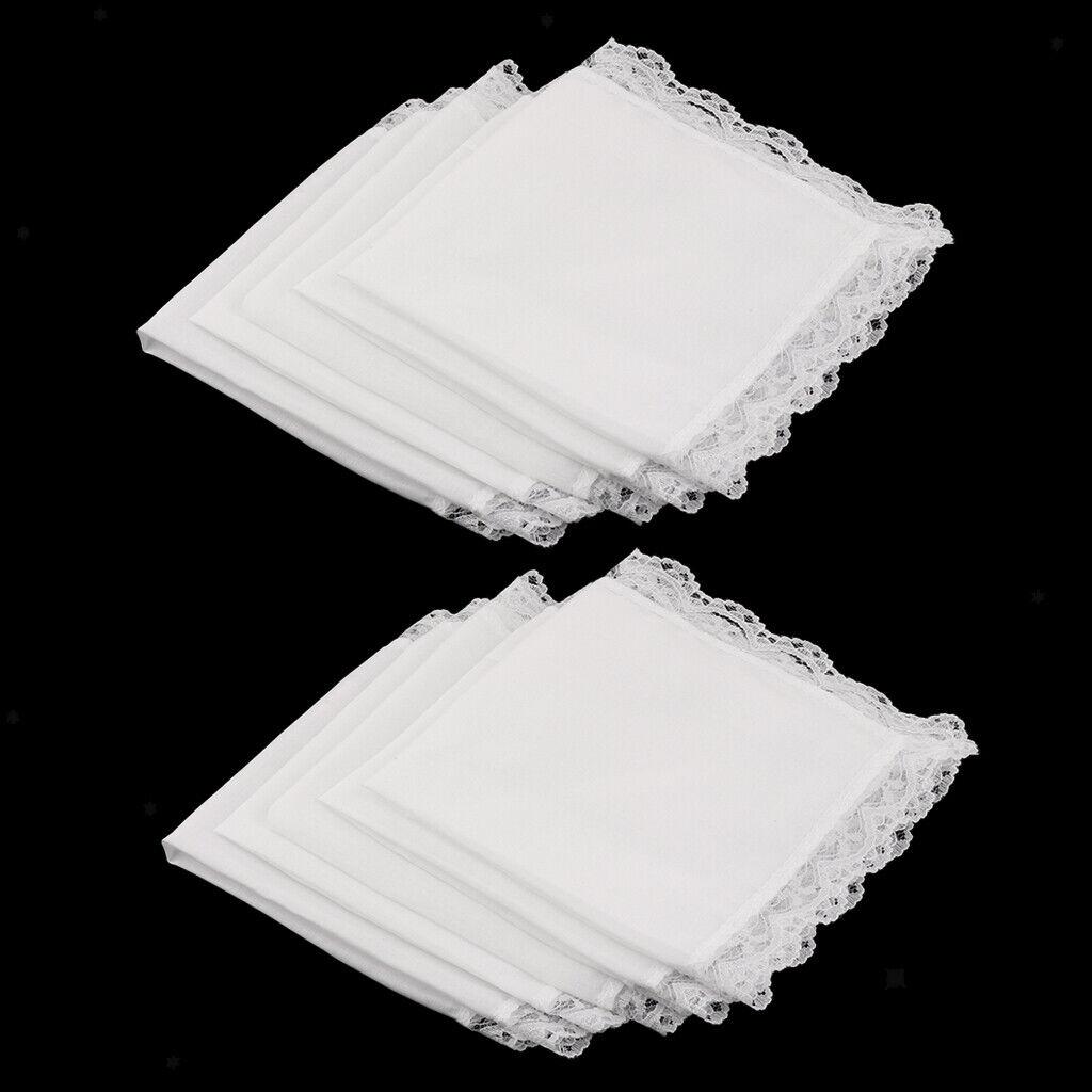 10 Stü Damen Stickerei Baumwolle Taschentücher Lace Border White Hankie 23 X