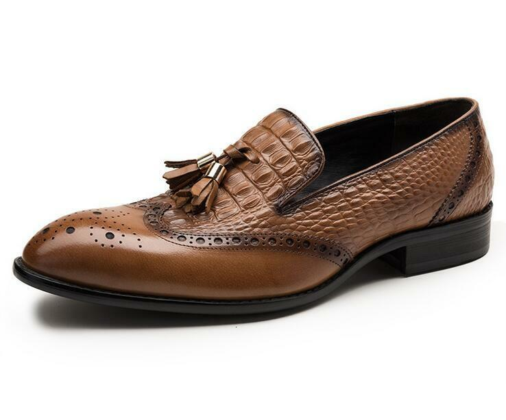 Uomo Stylish Real Pelle Tassel Slip On Loafers Formal Dress Brogue Shoes New