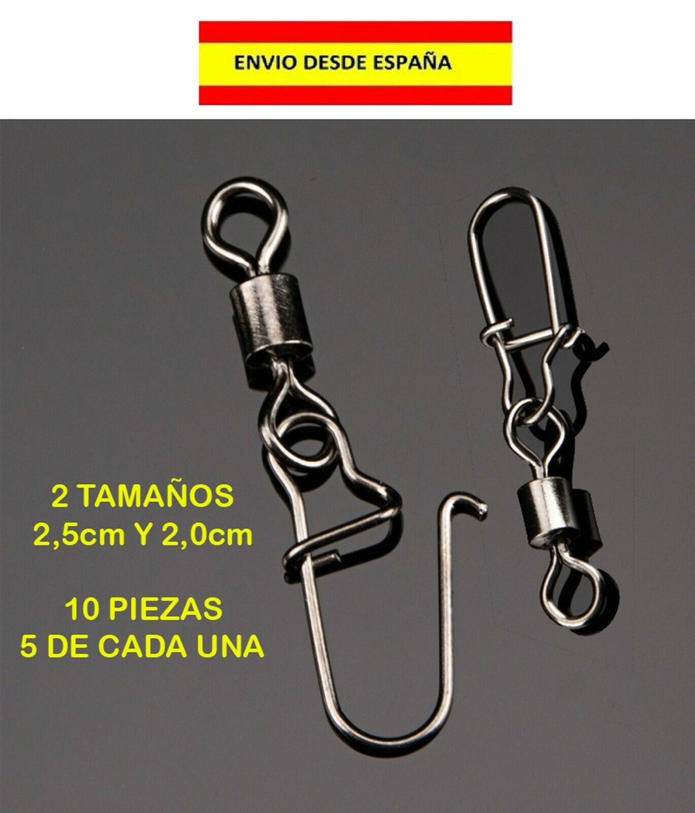 10 BAJOS DE LÍNEA CÁNCAMO ALFILER GANCHO ANZUELO PESCA CEBO CARNADA MAR...