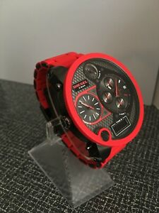 7c0056fe2f1 Diesel DZ7279 Men s Mr Daddy Four Time Zone Dial Red Silicon ...