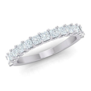 Natural-0-80ct-Princess-Cut-Diamond-U-Prong-Half-Eternity-Band-Anniversary-Ring
