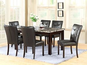 The Room Style 7 Piece 64x38 Dining Table Set With Faux Marble Top Brand New
