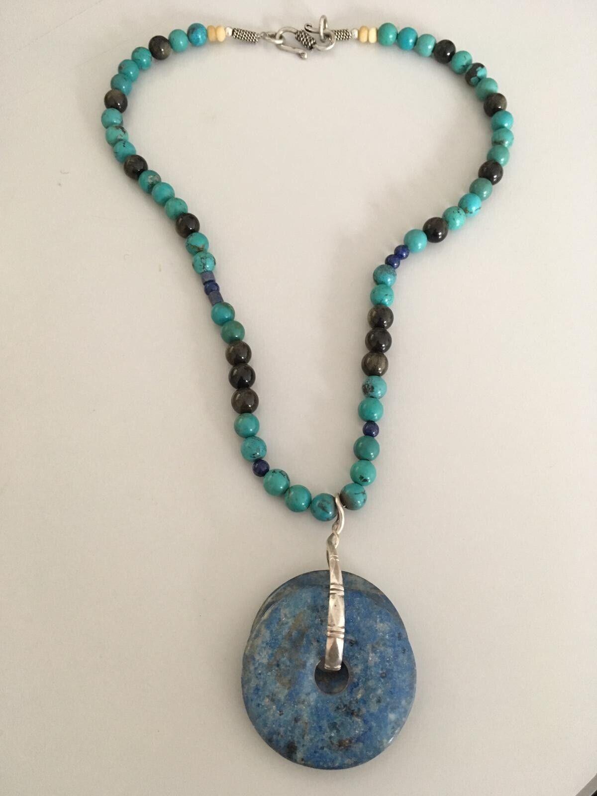 Boho etnico splendido argentoo con perline perline perline TURCHESE LAPIS Semi Preziosi Collana di pietra 7f3bc0
