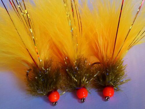 mouches.. Nouveau X3 Sunburst allié mcoist Taille 10 Pêche à La Mouche Truite Mouches leurres
