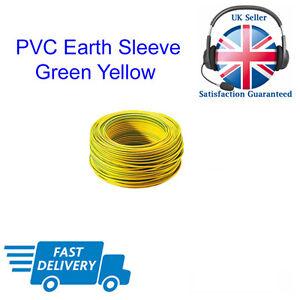 GUAINA di terra in pvc verde giallo 2 3 4 5 6mm presa Elettrica Luci Filo Cavo