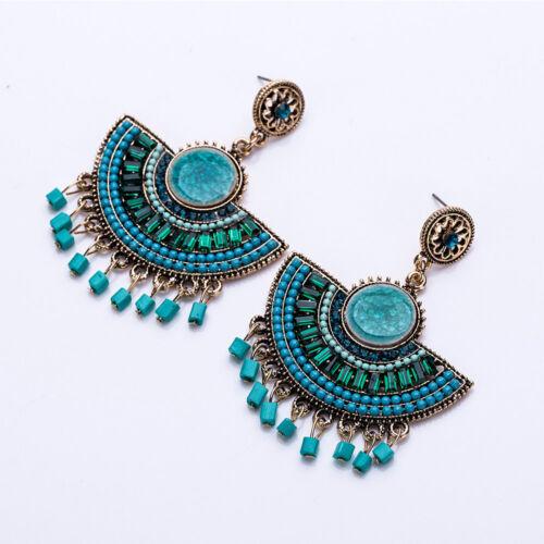 Unique Rice Bead Fan Design Earrings Set auger Tassel Earrings For Women Gifts