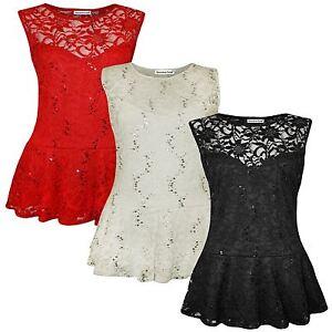 Damen Plus Größe Pailletten Lace Skater Schößchen Frill Oberteile 44-54 PüNktliches Timing Kleidung & Accessoires Blusen, Tops & Shirts