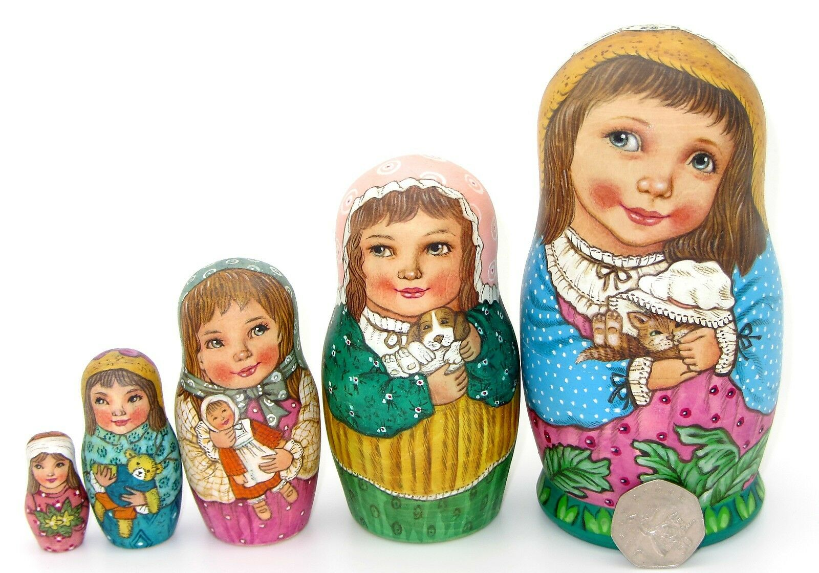 Russian Nesting Doll 5 Girls Kitten Puppy SOKIRKINA HAND PAINTED MATT Matryoshka