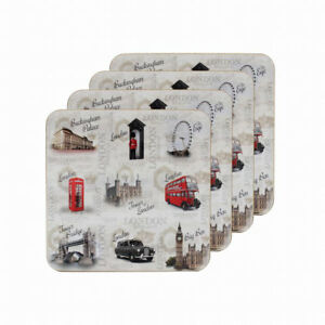 The-Leonardo-Collection-Vintage-Londres-Inglaterra-Juego-de-Posavasos-4-Blanco