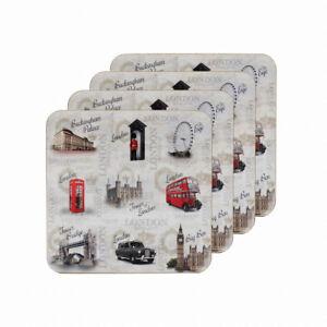 The-Leonardo-Collection-Vintage-Londres-Inglaterra-Coaster-Conjunto-de-4-Blanco