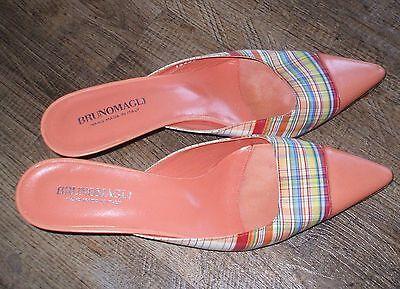 Bruno Magli Vintage Damen SCHUHE Gr. 39 PUMPS Sandalen LEDER-Stoff