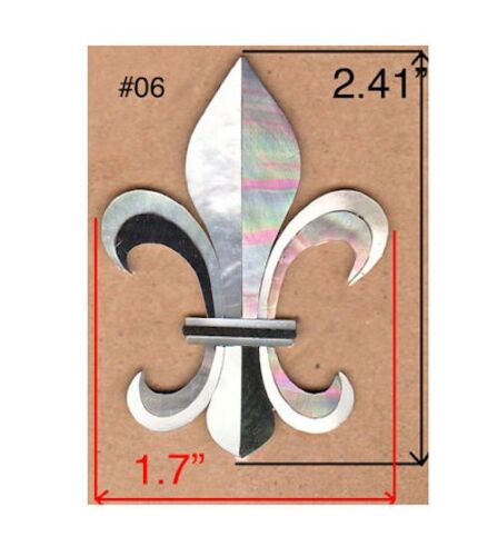 PH126# Fleur-De-Lis Inlay in White Mop /& Black Mother of Pearl 1.5 mm thickness