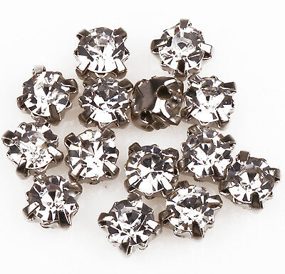 200pc Jewelry Embellishments Glass Crystal Metal Base Sew on Cloth/Shoes Design