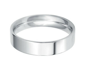 Mens Womens Solid 14K White Gold Plain FLAT Wedding Band 2MM