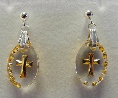 Hand Painted Mini Oval Cross Crystal Earrings