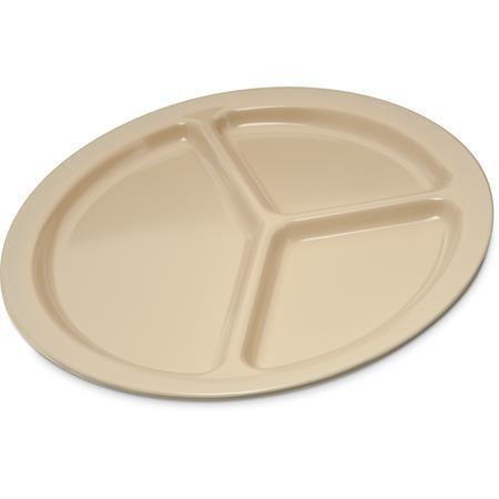 "Carlisle KL10225 Kingline Melamine 3-Compartment Plate 10/"" Tan 48 pack"