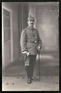 WW1-GERMAN-OFFICER-SWORD-PICKEHAUBE-EMPIRE-MILITARY-ANTIQUE-RPPC-PHOTO-POSTCARD