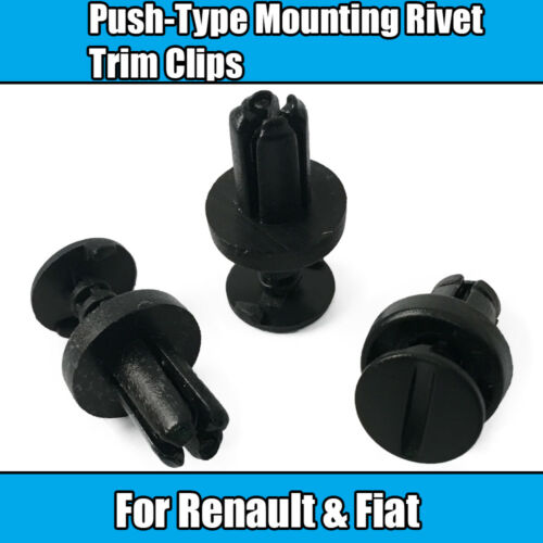 10x clips Para Renault Fiat DACIA Negro Plástico Remache Molduras Clips De Montaje De Empuje