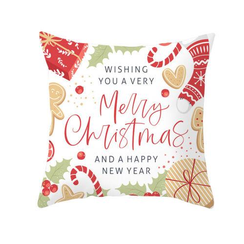 Christmas Pillow Case Santa Sofa Plush Cushion Red Covers Xmas Party Room Decor