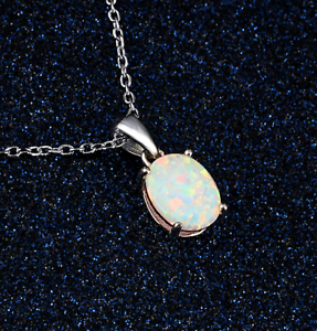 Woman-Fashion-925-Silver-Jewelry-White-Fire-Opal-Charm-Pendant-Necklace-Chain