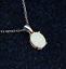 Woman-Fashion-925-Silver-Jewelry-White-Fire-Opal-Charm-Pendant-Necklace-Chain miniature 1