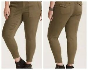 86806136230 Image is loading Torrid-Olive-Green-Twill-Utility-Pant-Sz-26-