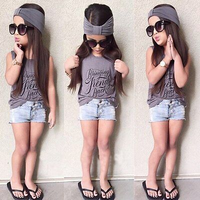 3pcs Toddler Kid Baby Girl Outfits Headband+Tops T-shirt+Jeans Pants Clothes Set
