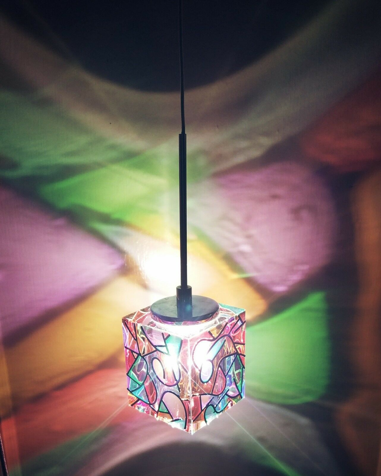 2 Hand-Painted Abstract Pendant Ceiling Lights