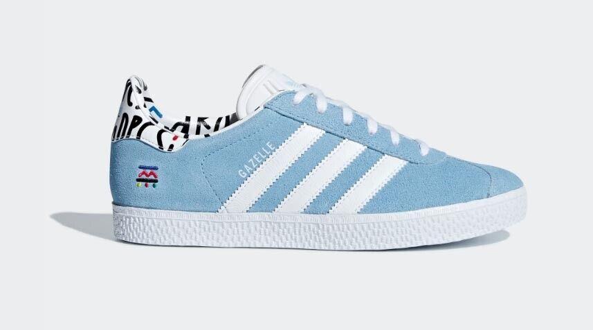 Adidas Gazelle Turnchaussures chaussures en Cuir Rétro Baskets Unisexe bleu Clair b37213
