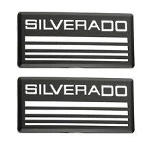 2pcs Silverado Cab Emblem Badgeside Roof Pillar Decal Plate Black White