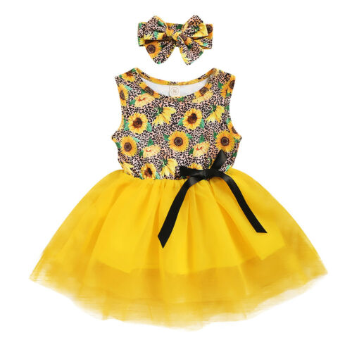 Toddler Baby Kid Girl Sleeveless Yellow Sunflower Princess Dress Bow Outfits